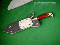 """PJLT"" in locking knife sheath, combat, CQC, CQB, shown with vertical orientation of mounting hardware, reversible belt loop plate of die formed aluminum, nickel plated steel"