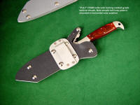 """PJLT"" in locking combat knife sheath, belt loop plate shown in horizontal position for horizontal knife sheath wear"