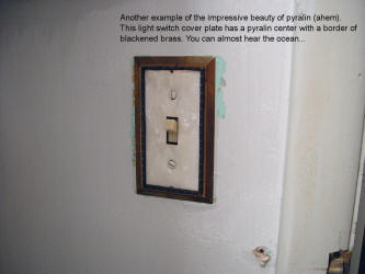 Pyralin light switch cover, c. 1960. Impressive beauty of cellulose.