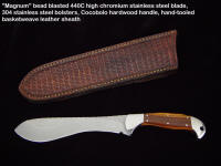 Fine Custom Skinning, Field Dressing Knife: Magnum, Bead Blasted Stainless Steel, Cocobolo Hardwood, Hand-tooled Leather Crossdraw Sheath