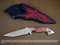 Mecurius Magnum fine tactical, investment grade collectors knife in 440C stainless steel blade, hand-engraved 304 stainless steel bolsters, snake skin jasper gemstone handle from western australia, sting ray skin inlaid in hand-carved leather sheath