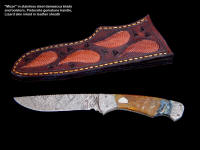 "Investment grade collector's knife: ""Mizar"" in stainless steel damascus blade, Pietersite gemstone handle, lizard skin inlaid leather sheath"