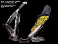 """Morta"" in twist damascus welded blade, hand-engraved 304 stainless steel bolsters, ancient Bog Oak handle, hand-carved, hand-dyed leather sheath, hand-cast bronze stands"