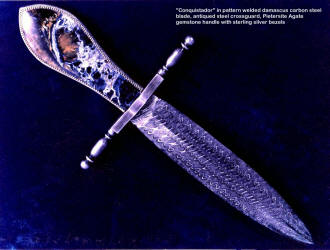 The antique nature of the blade and fittings merge with the stormy exotic agate dagger handle