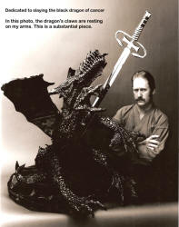 """Dragonslayer - The Taste of Steel"" with the artist. Over four hundred pounds of bronze in the sculpture. This photo was taken in the early 1990s."