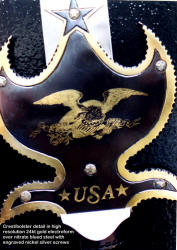 The USA Partizan with early engraving of our great seal, in gold over nitrate blued steel