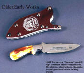 "USAF Pararescue ""Creature"" in etched, gold plated 440C high chromium stainless steel blade, 304 stainless steel bolsters, Mookaite Jasper gemstone handle, locking engraved acrylic, aluminum, stainless steel sheath"