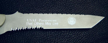 PJLT USAF Pararescue inscription, dedication machine engraved on knife blade