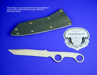 "USAF Pararescue ""PJLT Shank"" in 440C bead blasted stainless tool steel blade, tension fit sheath of kydex, aluminum, and blued steel"