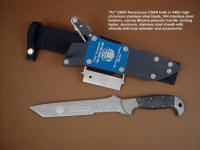 """PJ"" fine handmade custom CSAR knife, obverse side view in 440C high chromium stainless steel blade, 304 stainless steel bolsters, canvas micarta phenolic handle, locking kydex, aluminum, stainless steel sheath with ultimate belt loop extender and accessories"