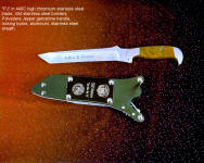 """PJ"" in 440C high chromium stainless steel blade, 304 stainless steel bolsters, Polvadera Jasper gemstone handle, locking kydex, aluminum, stainless steel sheath"