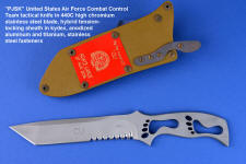 """PJSK"" Viper Combat Control Team tactical combat knife, obverse side view in 440C high chromium stainless steel blade, hybrid tension-locking sheath in coyote kydex, tan stainless steel, anodized aluminum, titanium"