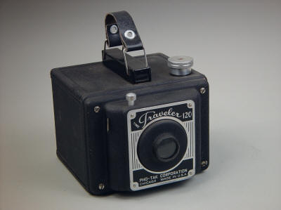 The Pho-Tak Corporations tough and simple Time Traveller 120 (6 x 9 cm) camera, c. 1950. Steel body and simple construction make this a tough customer
