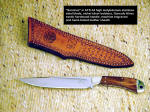 "Custom handmade boning, field dressing game knife ""Sanchez"" in stainless steel, exotic hardwood, engraved leather sheath, custom"