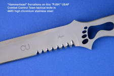 Hammerhead serrations on fine tactical combat knife