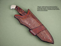 """Alegre"" in Honduras Rosewood Burl hardwood handle, stainless bolsters, crossdraw style leather sheath, hand-carved, inlaid with brown lizard skin"