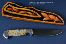 """Aquila""  in mirror polished and hot blued O1 high carbon tungsten-vandium tool steel blade, hand-engraved 304 stainless steel bolsters, Golden Plume Agate gemstone handle, hand-carved, hand-dyed leather sheath"