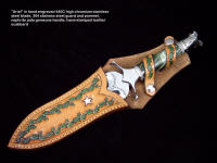"""Ariel"" athame dagger in hand-stamped scabbard of leather. Knife handle is sterlling silver, stainless steel, nephrite jade gemstone"