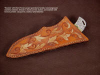 """Bootes"" knife sheath has bronzed tooling,  hand carved on sheath face embellishment"