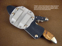 """Calisto"" with horizontal belt loop adapter plate made of die-formed aluminum on a locking knife sheath"
