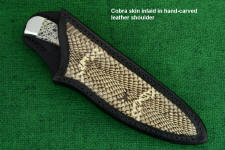 """Cygnus ST"" in 440C high chromium stainless steel blade, 304 stainless steel bolsters, Dalmatian Stone gemstone handle, Cobra skin inlaid in hand-carved leather sheath"