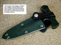 """Grim Reaper"" combat tactical push dagger, sheathed view. Note leather safety retaining strap secured by snaps in kydex and aluminum sheath"
