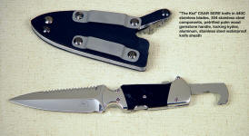 """The Kid"" SERE hookblade knife in locking waterproof sheath with stainless steel components."