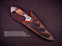 """Malaka"": 440C high chromium stainless steel blade, hand-engraved 304 stainless steel bolsters, Cabernet Jasper gemstone handle, black stingray skin inlaid in hand-carved leather sheath"