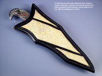 """Mercury Magnum"" full deep layered type knife sheath with elephant hide inlays"