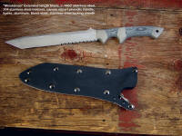 """Minuteman"" with Extra Length blade in locking kydex, aluminum stainless steel combat sheath"