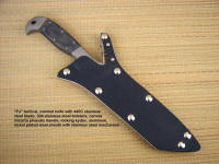 """PJ"" Pararescue style tactical knife, in 440C high chromium stainless steel blade, 304 stainless steel bolsters, canvas micarta phenolic handle, locking kydex, aluminum, stainless steel sheath"
