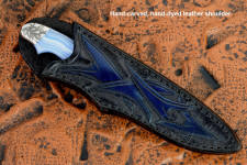 """Perseus"" in 440C high chromium martensitic stainless steel blade, hand-engraved 304 stainless steel bolsters, blue lace agate gemstone handle, hand-carved, hand-dyed leather sheath"