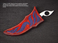 """Tethys"" sheath  inlaid with blue stingray skin in hand-carved leather shoulder"