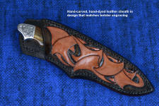 """Thuban"" obverse side view in CPM154CM high molybdenum powder metal technology stainless tool steel blade, hand-engraved 304 stainless steel bolsters, Australian Petrified Wood gemstone handle, hand-carved, hand-dyed leather sheath"