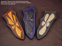 """Chama"" Custom knife sheaths with emu, ostrich inlays in leather shoulder"