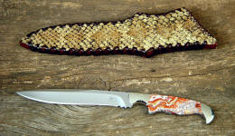 """Prairie Falcon"" in 440C stainless steel blade, 304 stainless bolsters, Crazy Lace agate gemstone handle, full panel overlay of Diamondback Rattlesnake skin over leather shoulder, hand-laced"