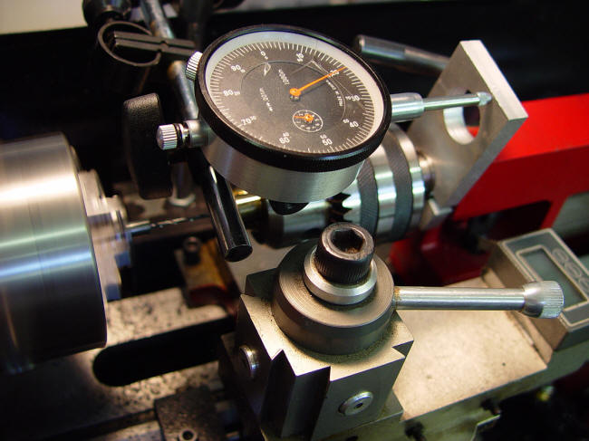 Dial indicator on lathe