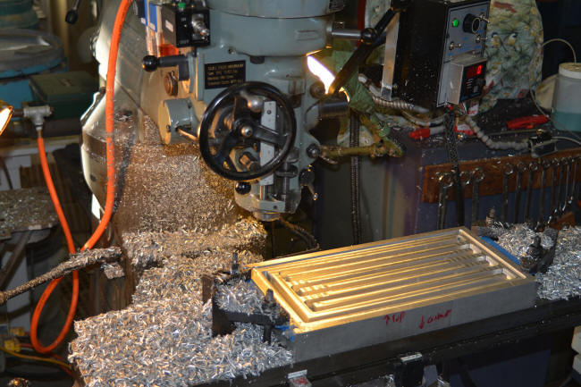 Machine milling a contact block heat exhanger in aluminum