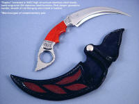 """Raptor"" design ""Manicouagan"" kerambit in 440C high chromium stainless steel blade, hand-engraved 304 stainless steel bolsters, Red Jasper gemstone handle, red stingray skin inlaid in leather sheath"