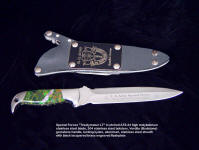 "United States Army Special Forces ""Treatymaker LT"" (LighT) in etched ATS-34 high molybdenum stainless steel blade, 304 stainless steel bolsters, Verdite (budstone) gemstone handle, locking kydex, aluminum, stainless steel combat sheath with engraved black lacquered brass flasplate"