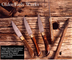 """Willow"" early works, bird and trout knives featured in 1992 Gun Digest Book of Knives article"