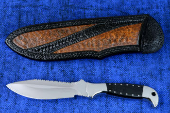 """Heracles"" obverse side view in 440C high chromium stainless steel blade, 304 stainless steel bolsters, polished G10 fiberglass/epoxy composite handle, hand-tooled, hand-dyed leather sheath"
