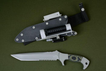 """Taranis"" counterterrorism, tactical, combat knife, obverse side view in CPMS30V high vanadium stainless tool steel blade, 304 stainless steel bolsters, Olive/Black G10 fiberglass epoxy composite laminate handle, locking kydex, aluminum, stainless steel sheath with ultimate belt loop extender and accessories"