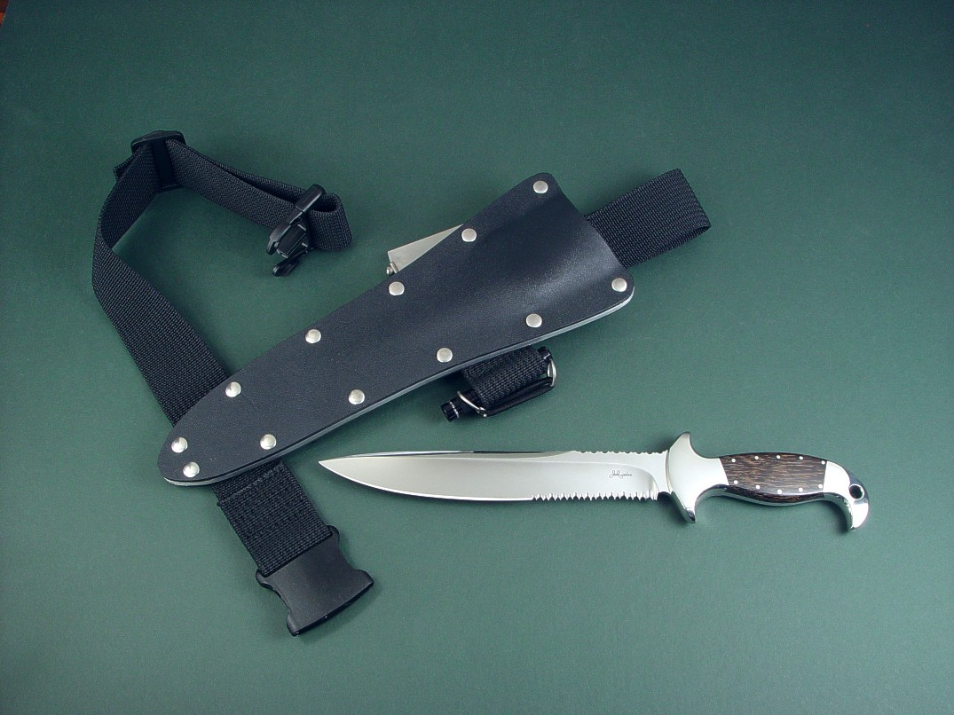 Ultimate belt loop extender on very long knife sheath with thigh belt.