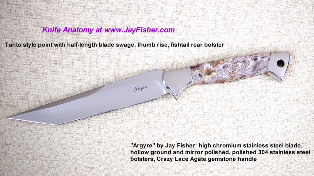 """Argyre"" Collector's Tactical Knife: 440C high chromium stainless tool steel blade, mirror polished, hollow ground, 304 high nickel-chromium stainless steel bolsters, Crazy Lace Agate Gemstone handle"