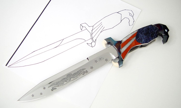 """Freedom's Promise"" from hand-drawn design to completed knife in hand-engraved 440C high chromium stainless steel blade, blued steel guard and pommel, milky quartz, red jasper, blue sodalite, solid opals"