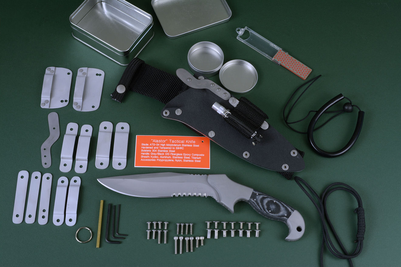 """Alastor"" tactical, counterterrorism, combat knife with accessory package including lanyards, horizontal belt loop plates, three sets of belt loops, additional titanium retention spring, tools, hardware, and containers for variable mission options."