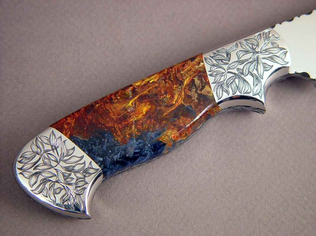 """Altair""  CPM154CM stainless steel blade, hand-engraved 304 stainless steel bolsters, Pietersite gemstone handle, Frog skin inlaid in hand-carved leather sheath"
