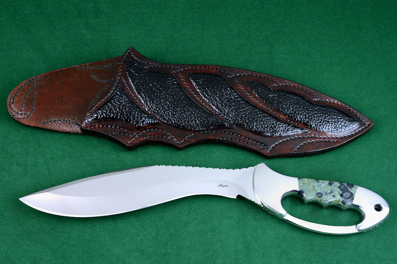 """Ananke"" fine custom handmade knife, obverse side view in ATS-34 high molybdenum stainless steel blade, 304 stainless steel bolsters, Kambaba Jasper gemstone handle, hand-carved leather sheath inlaid with buffalo skin"