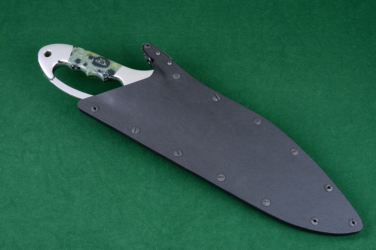 """Ananke"" custom khukri, locking sheath tactical rig view. Sheath is positively locking in durable waterproof materials"
